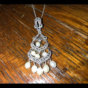 JJ Accessories - JJ. Sterling marcasite necklace w 9 pearls.  16in.